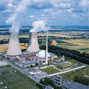 nuclear power plant grafenrheinfeld, kkg, PWR, view, aerier view, cooling towers