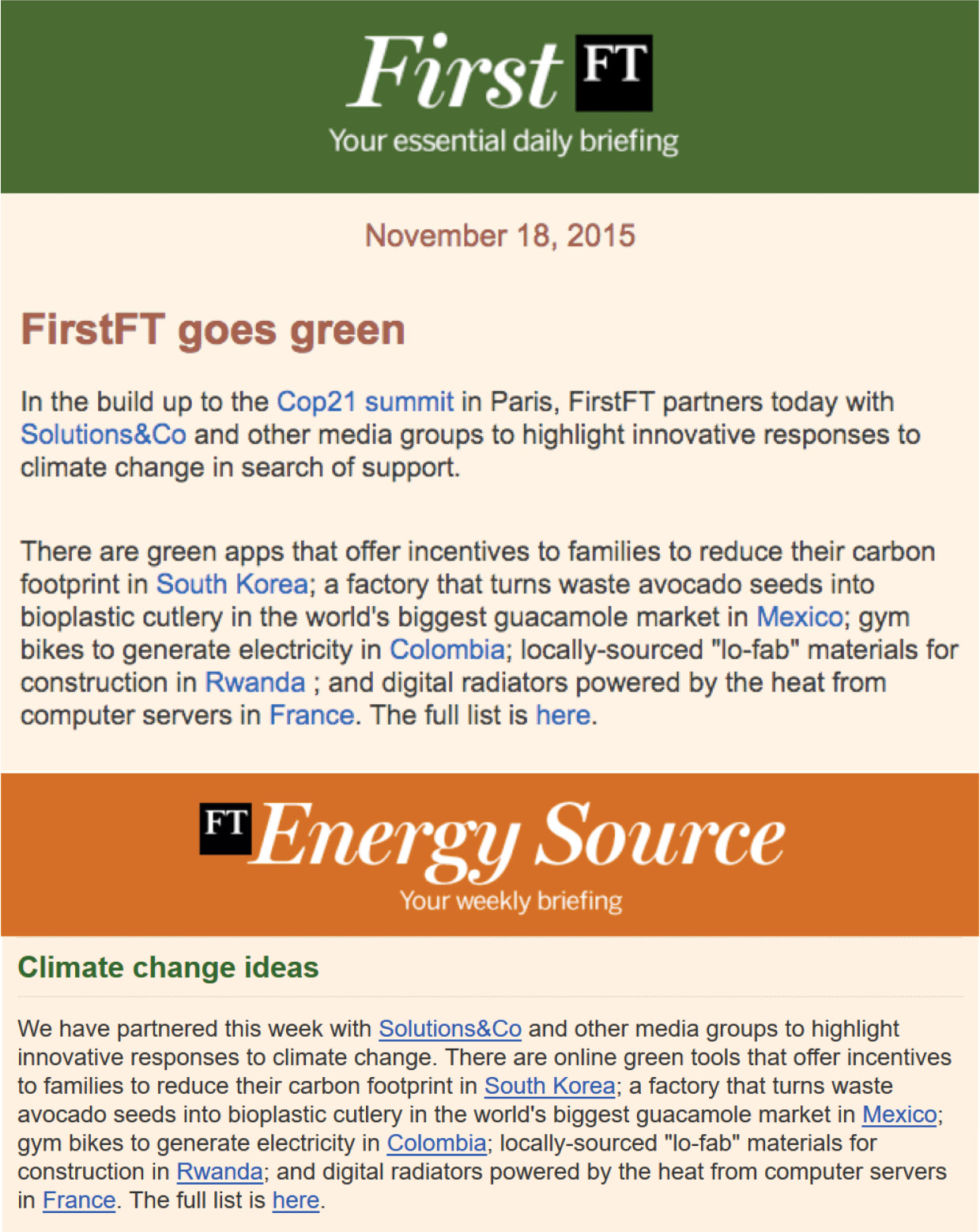 solutions&co sparknews financial times green energy media journal economic climate