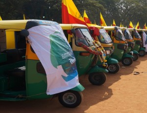 'Green' four-stroke auto rickshaws, such as these, are fuel-efficient and incur lower maintenance costs, and therefore help their driver-owners enhance their earnings - Credits: Three Wheels United